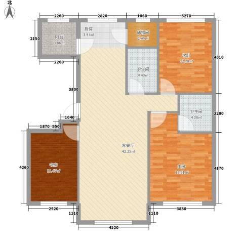 华恒南山公馆3室1厅2卫0厨135.00㎡户型图