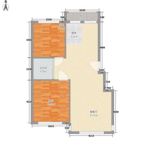 华恒南山公馆2室1厅1卫0厨93.00㎡户型图
