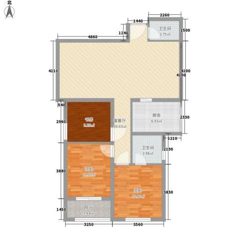 鑫龙花苑3室1厅2卫1厨124.00㎡户型图