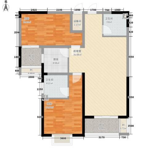 未央湖畔2室0厅2卫1厨106.00㎡户型图