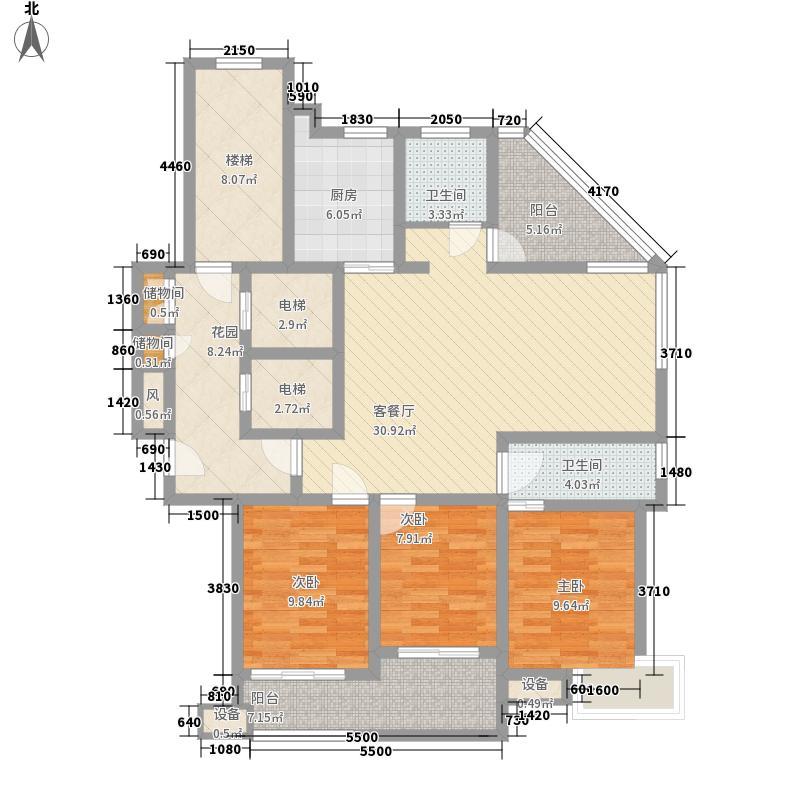 汇景名豪161.32㎡2#楼兰乔圣菲户型3室2厅2卫1厨