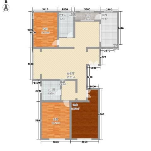 九合家园3室1厅2卫1厨190.00㎡户型图