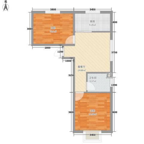 阳光A版2室1厅1卫1厨71.00㎡户型图
