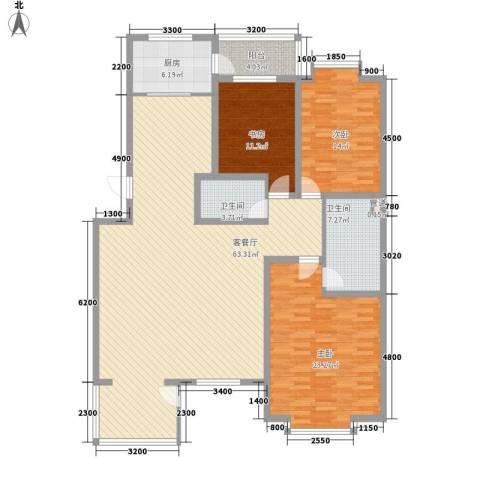 九合家园3室1厅2卫1厨186.00㎡户型图