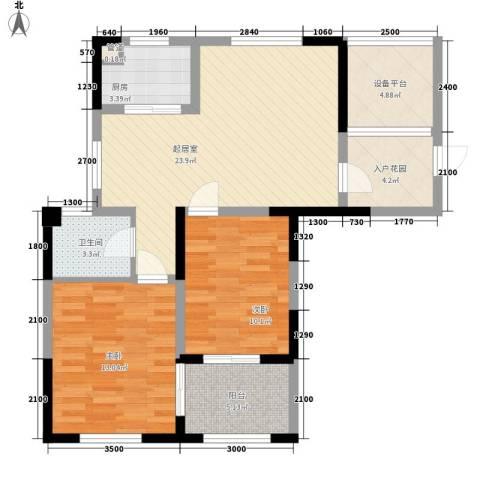 纳爱斯阳光锦城2室0厅1卫1厨87.00㎡户型图