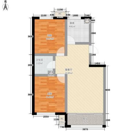 荷花盛世二期2室1厅1卫1厨86.00㎡户型图