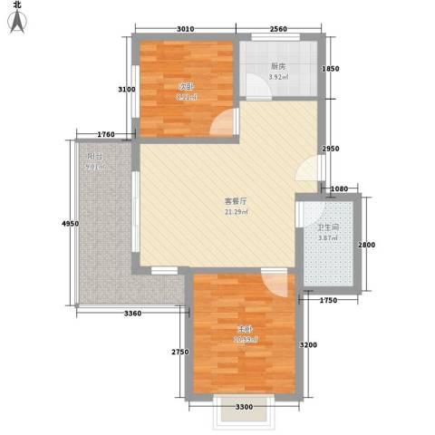 荷花盛世二期2室1厅1卫1厨79.00㎡户型图