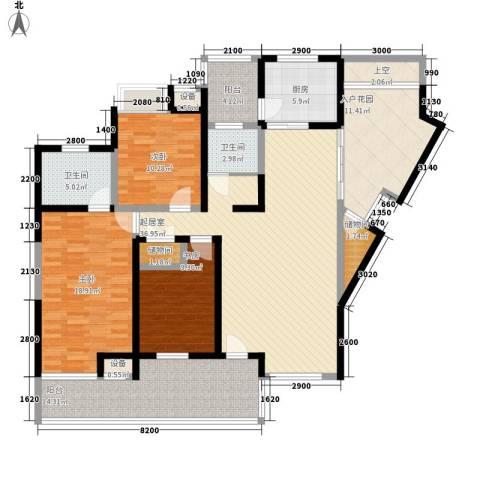 豪景苑3室0厅2卫1厨184.00㎡户型图