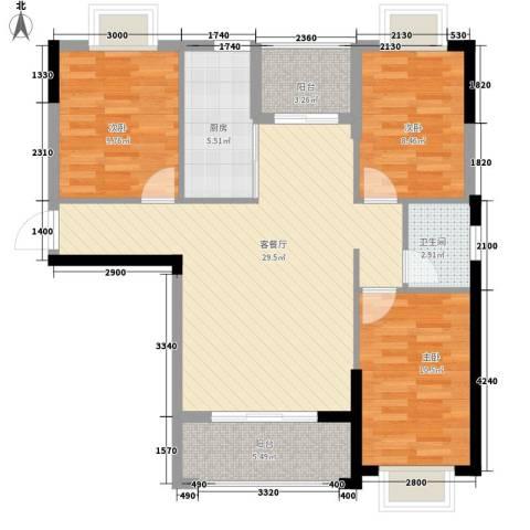 版纳一品3室1厅1卫1厨107.00㎡户型图