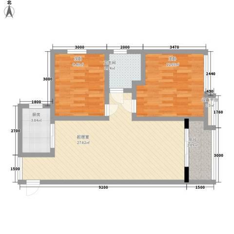 汉城湖畔2室0厅1卫1厨91.00㎡户型图