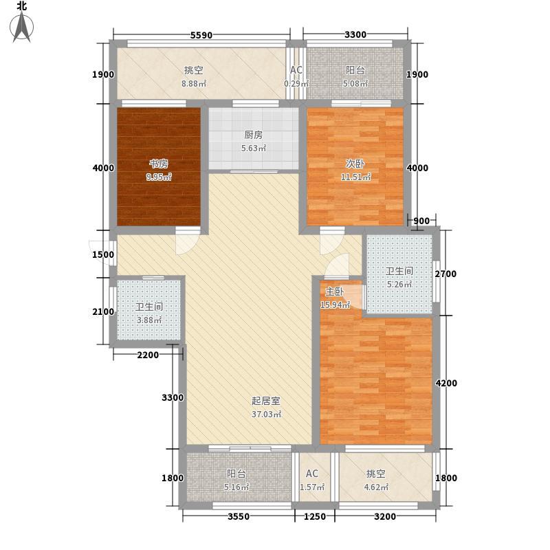尚格青春143.28㎡K偶数层户型3室2厅2卫1厨