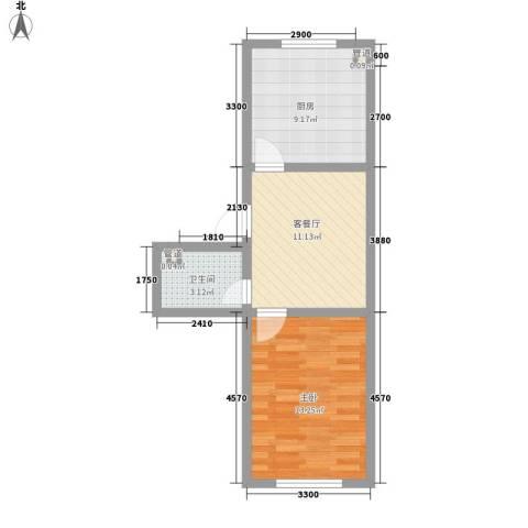 缪庄新村1室1厅1卫1厨54.00㎡户型图