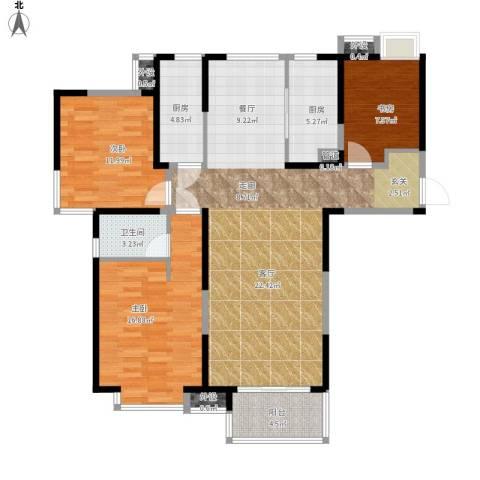 中铁滨湖名邸3室1厅1卫2厨140.00㎡户型图
