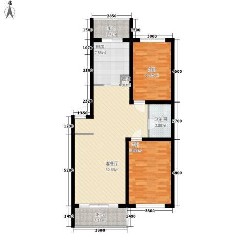 天鸿嘉园2室1厅1卫1厨111.00㎡户型图