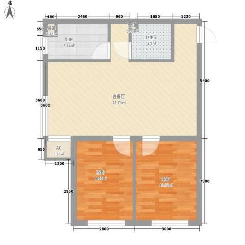 双E港二期2室1厅1卫1厨78.00㎡户型图