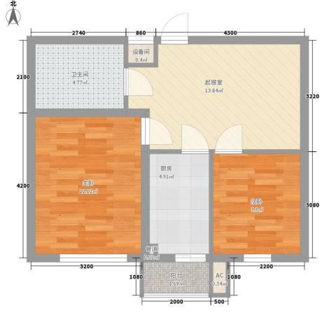双E港二期2室0厅1卫1厨66.00㎡户型图