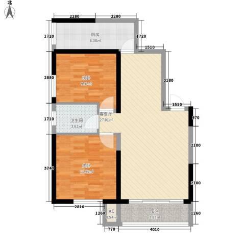 紫薇家天下2室1厅1卫1厨91.00㎡户型图