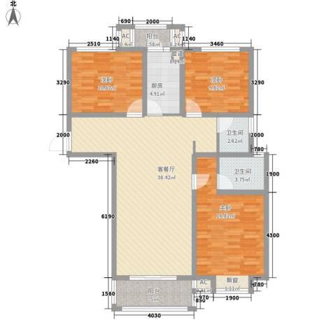 上品・长安人家3室1厅2卫1厨135.00㎡户型图