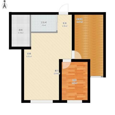 明日星城1室1厅1卫1厨82.00㎡户型图