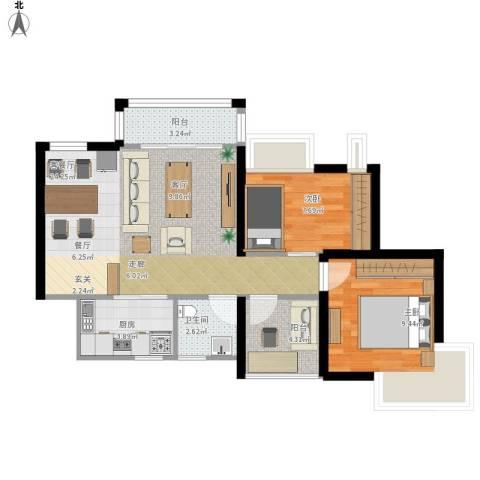 深业东城御园2室1厅1卫1厨79.00㎡户型图