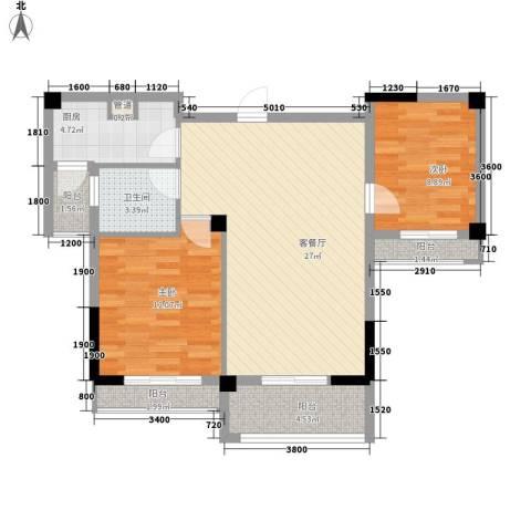 圆梦08庄园2室1厅1卫1厨83.00㎡户型图