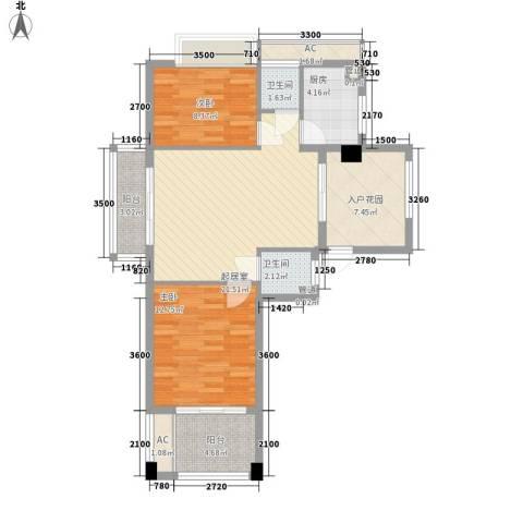 华亚・海岛假日2室0厅2卫1厨82.00㎡户型图