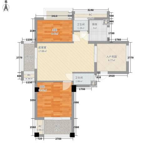 华亚・海岛假日2室0厅2卫1厨83.00㎡户型图