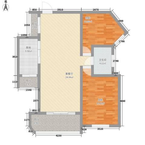 上海莘城2室1厅1卫1厨114.00㎡户型图