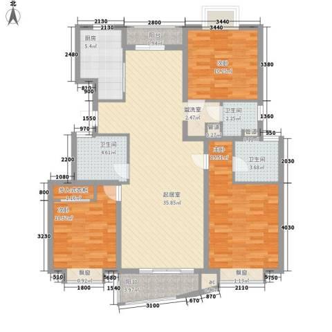 夏阳湖国际花园3室0厅3卫1厨138.00㎡户型图
