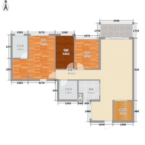 优越香格里3室1厅2卫1厨110.00㎡户型图