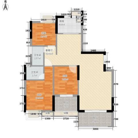 联泰香域中央3室1厅2卫1厨112.00㎡户型图