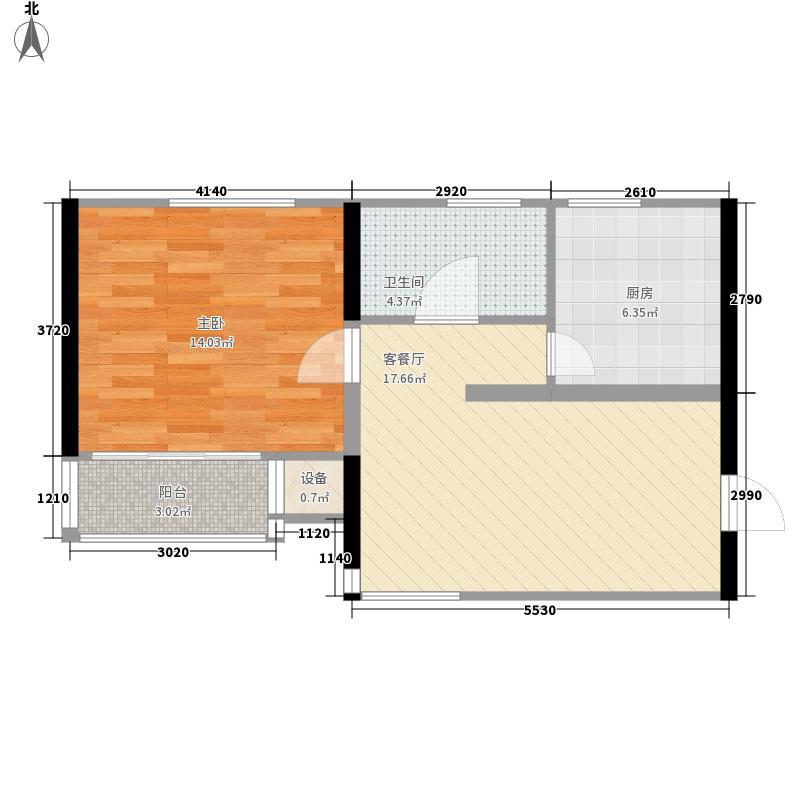 富景花园64.74㎡高层标准层B户型1室2厅1卫1厨