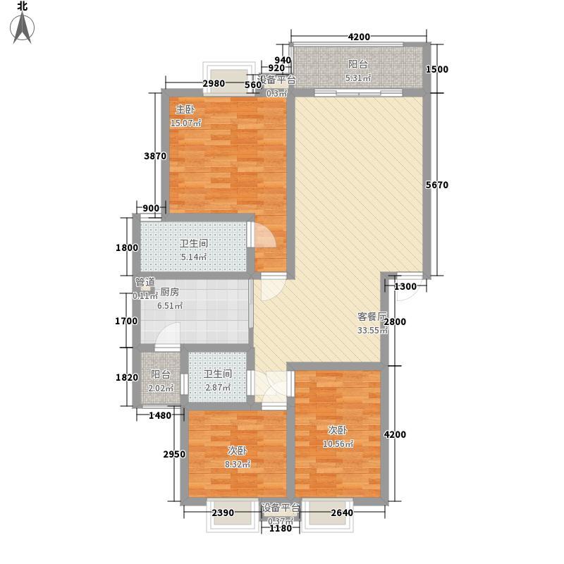 金世旗楠苑109.61㎡金世旗楠苑户型图D标准层2室2厅2卫1厨户型2室2厅2卫1厨