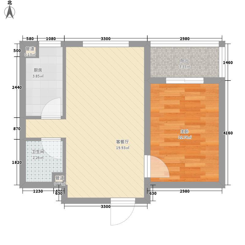 华潍公寓58.41㎡a户型1室2厅58.41平米户型1室2厅1卫1厨