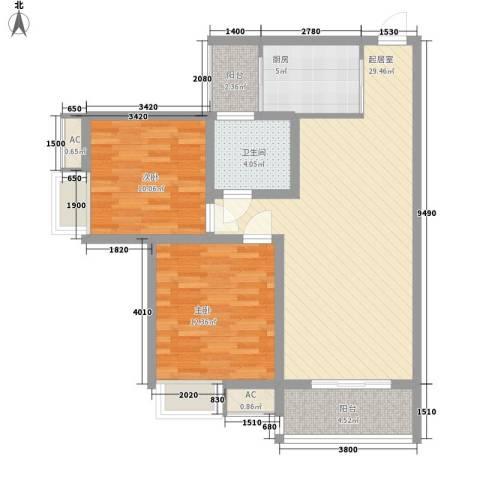康馨里居2室0厅1卫1厨78.00㎡户型图