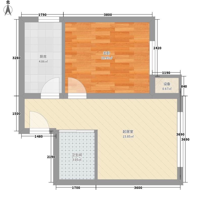 海威住宅48.20㎡小区G2户型1室1厅1卫1厨