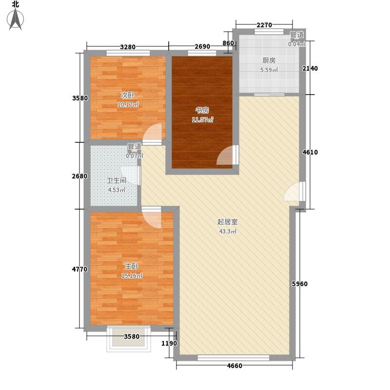 海威住宅118.82㎡小区G户型3室2厅1卫1厨