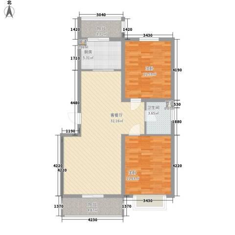 吴中印象2室1厅1卫1厨104.00㎡户型图