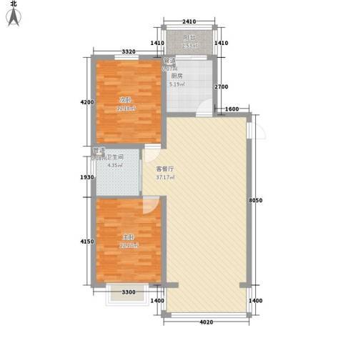 吴中印象2室1厅1卫1厨103.00㎡户型图