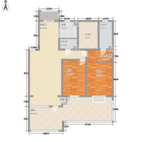 吴中印象2室1厅2卫1厨141.88㎡户型图