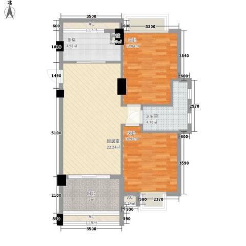 华亚・海岛假日2室0厅1卫1厨82.00㎡户型图