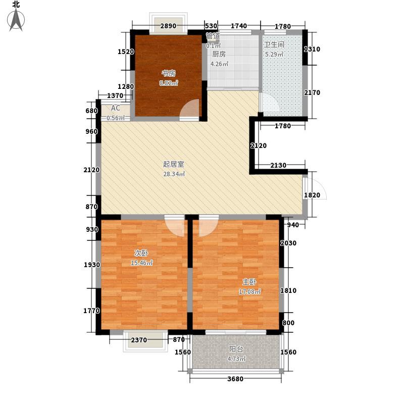 华灿公寓116.16㎡D户型3室2厅1卫1厨
