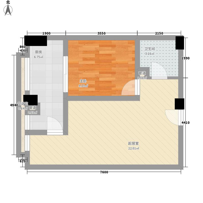 时代空间59.47㎡A4型户型1室1厅1卫1厨