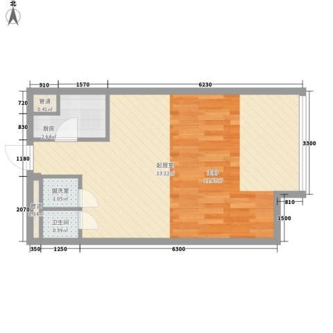 昆仑中心1卫1厨36.35㎡户型图