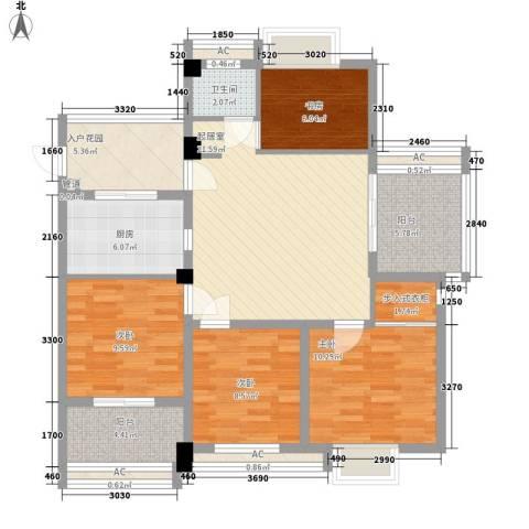 华亚・海岛假日4室0厅1卫1厨108.00㎡户型图