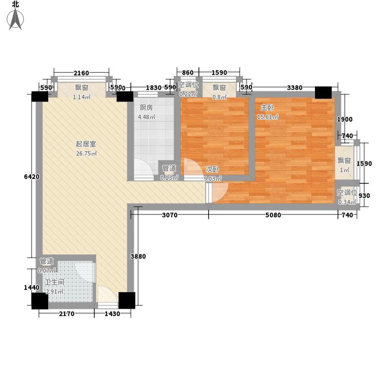 时代空间82.68㎡E型户型2室2厅1卫1厨