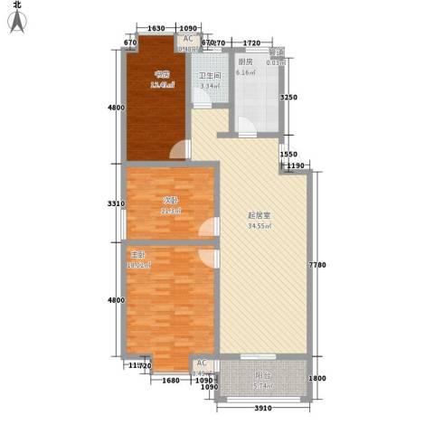 一品和�3室0厅1卫1厨92.52㎡户型图