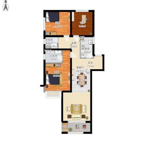 高科麓湾国际社区3室1厅2卫1厨134.00㎡户型图