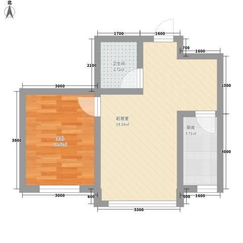 红光秀苑1室0厅1卫1厨57.00㎡户型图