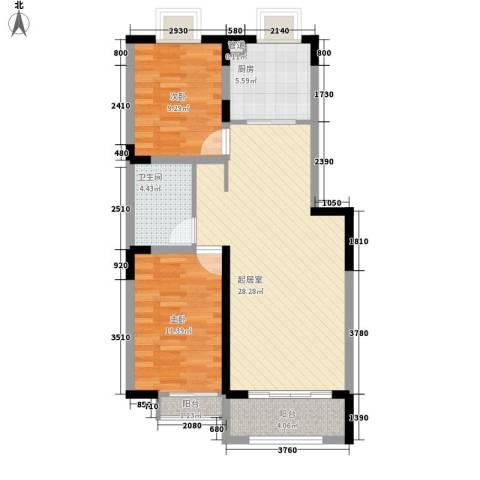 紫薇苑2室0厅1卫1厨92.00㎡户型图